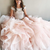 Princess Off the Shoulder Beaded Pink Long Ball Gown Quinceanera Dress Q9977