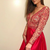 elegant plunging red prom party dresses with long sleeves , fashion formal