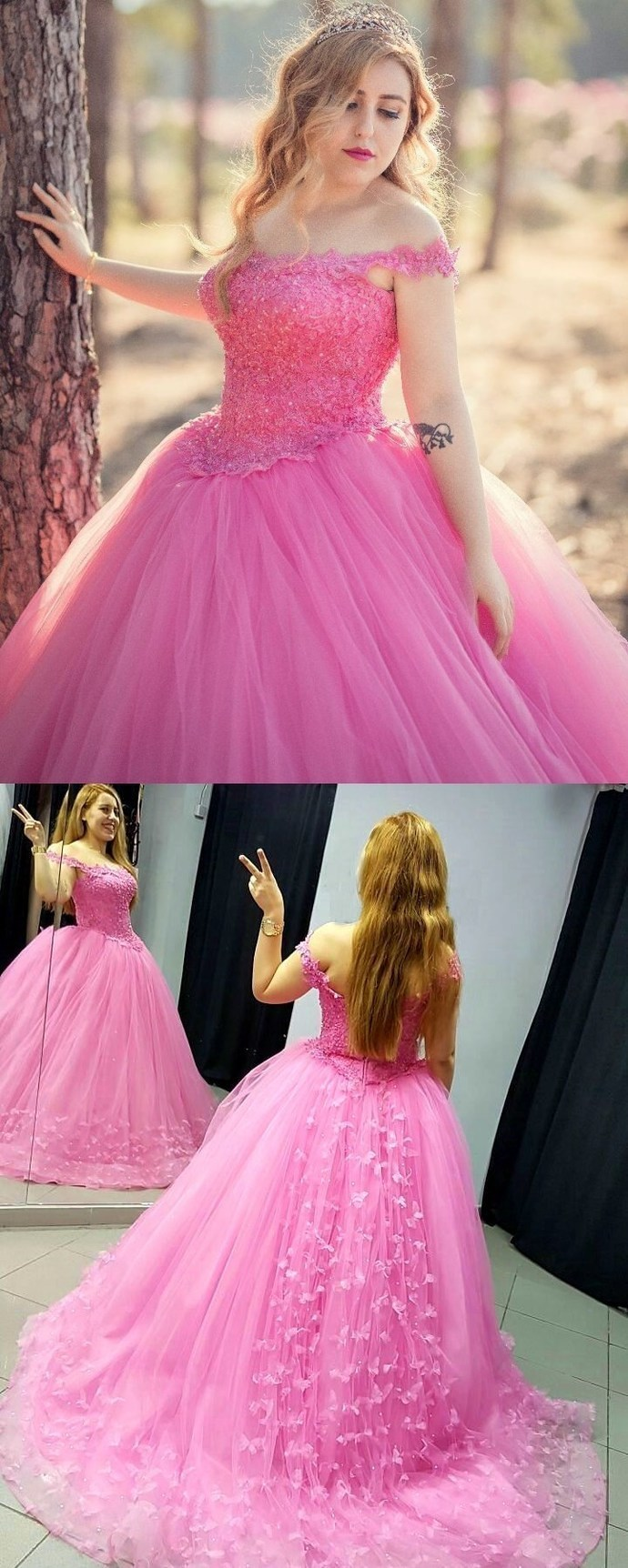 Pink Appliqued Corset Ball Gown Prom Dresses Q6699