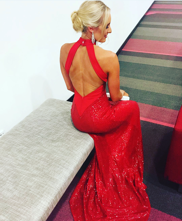 Sexy High Neck Mermaid Red Sequins Long Evening Dress T5598