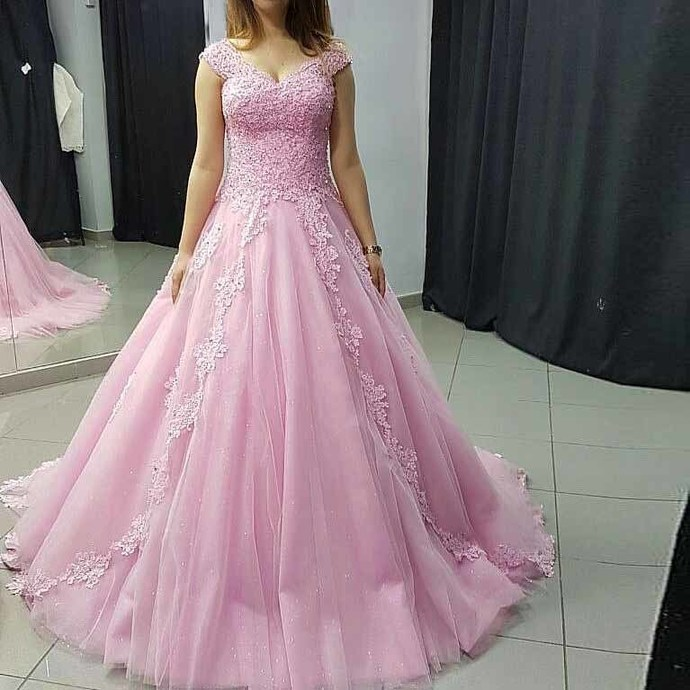 8c6d25a70 Princess Ball Gown Prom Dress Pink Tulle Cap Sleeve Wedding Party Dress With
