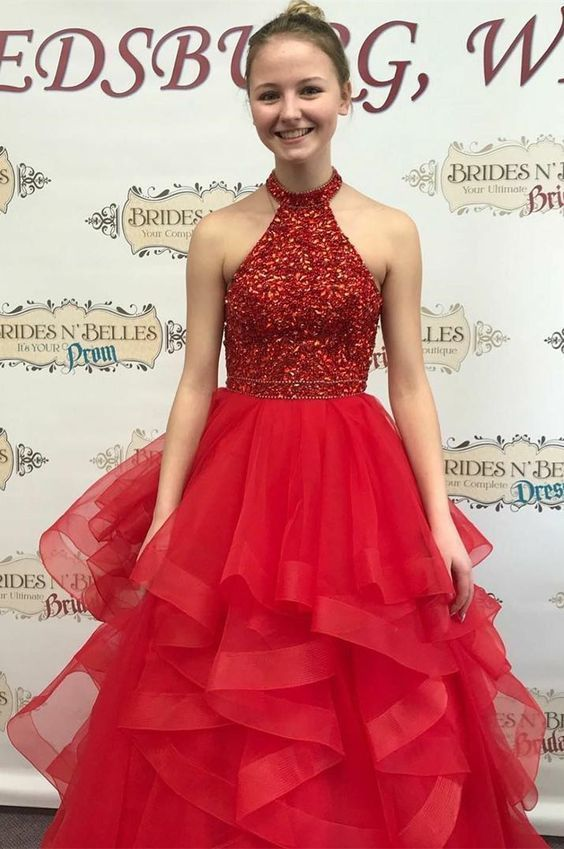 Gorgeous Sequins Red Long Prom Dress with Open Back Q5522