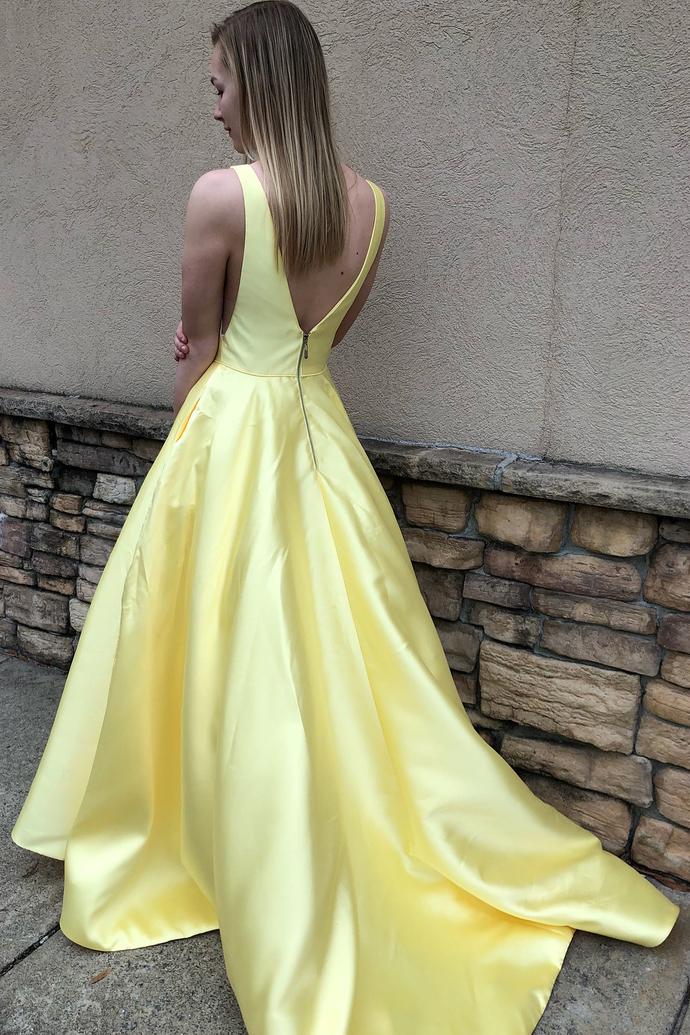 Evening dress, 2018 v neck yellow long evening dress, party dress long H2030