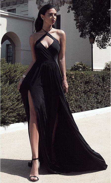 Charming Prom Dress,Halter Prom Dress,Black Prom Dress,Sexy Evening Dress A3054