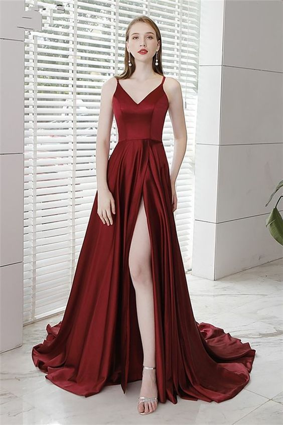 Spaghetti Straps Floor-Length Split-Front Evening Dress 2019 J2985