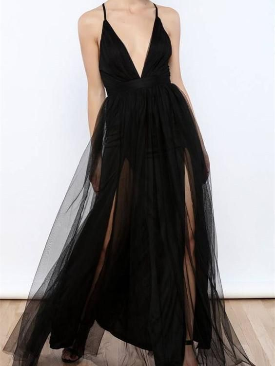 A-line Deep-V Floor-Length Tulle Simple Prom Dresses T4630