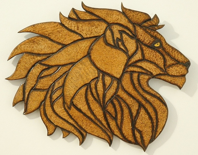 Intarsia, Pyrography, Wood Wall Art, Lion, African Decor, Wall Hanging