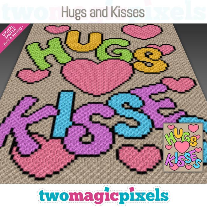 Hugs and Kisses crochet graph (C2C, Mini C2C, SC, HDC, DC, TSS), cross stitch;