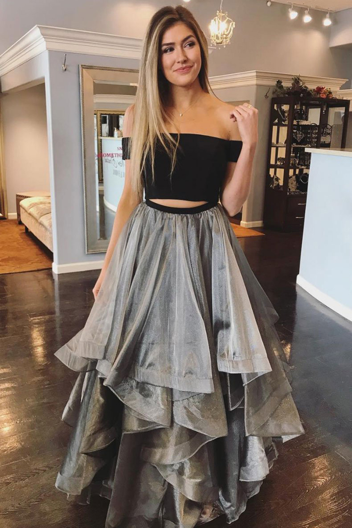 Gray Tulle 2 Pieces Layered Long Prom Dress, Off Shoulder Homecoming Dress G2695