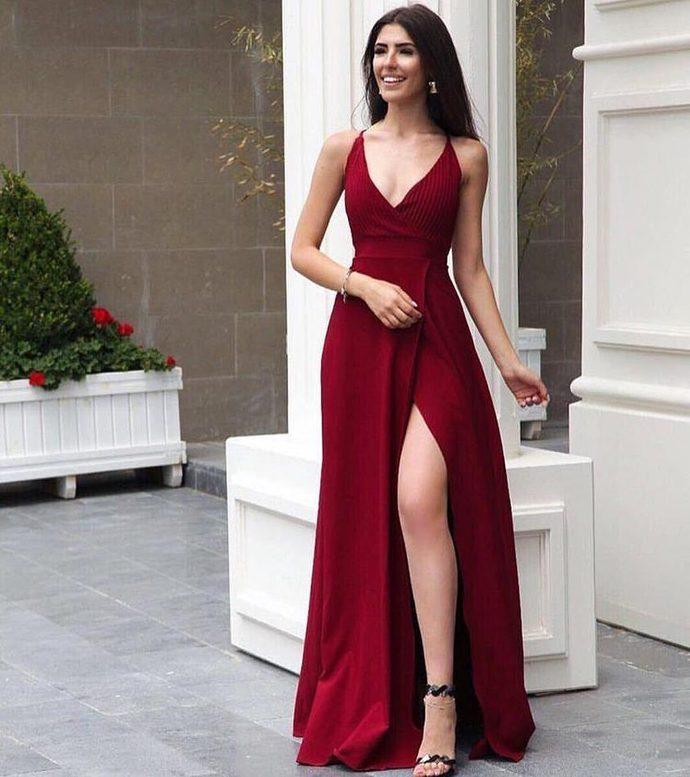 Red Prom Dress  V Neck Prom Dress With Side Slit Evening dress Chiffon