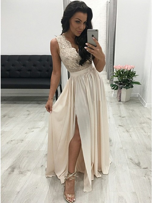 A-Line V-Neck Pleated Beige Chiffon Prom Evening Dress with Split Appliques