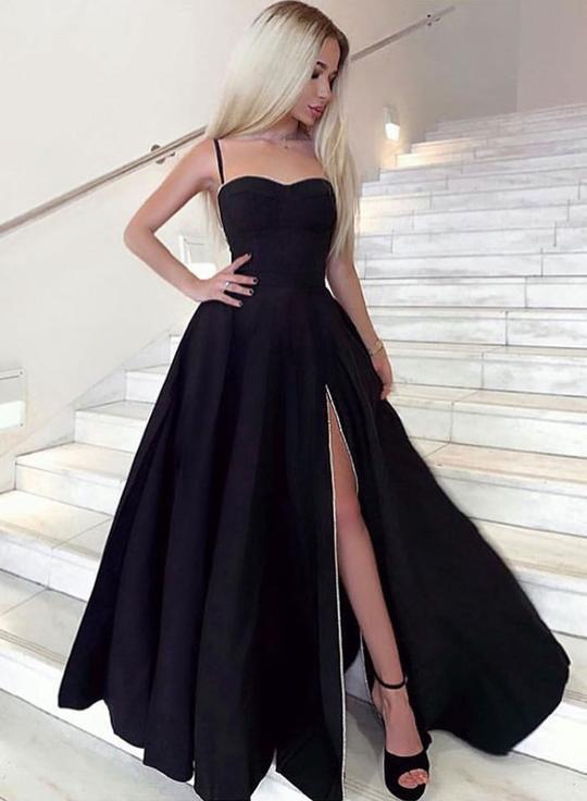 Sweetheart Neck Black Satin Long Side Slit Prom Dress Graduation Dress F2257