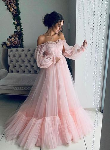 Pink Tulle Off Shoulder Puffy Sleeves Long Prom Dress Hot Evening Dresses G5265