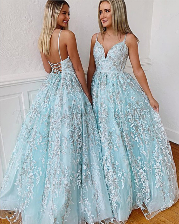 Baby Blue Lace Prom Dress Tie up Long V Neck Backless Evening Dress Senior