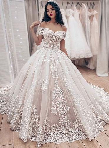 Ivory Lace Off Shoulder Sweep Train Wedding Dress Formal Dress With Sleeve W2851