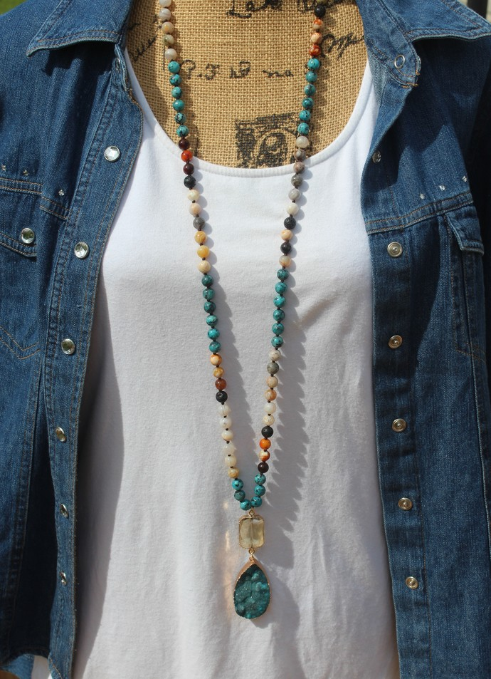 Long Boho Glam Beaded Necklace with Pendant Hand Knot Crystal & Druzy jewelry by