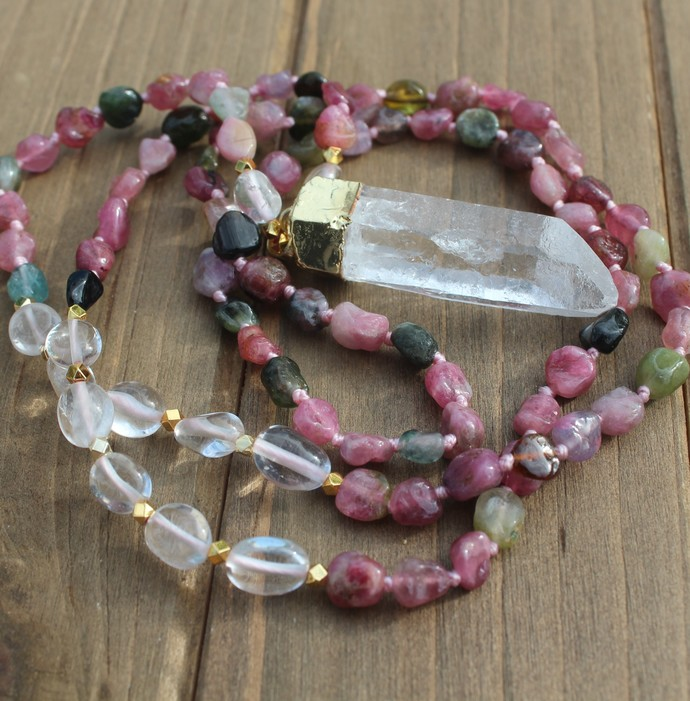 Long Tourmaline Beaded Necklace Lemurian crystal pendant Manifestation jewelry