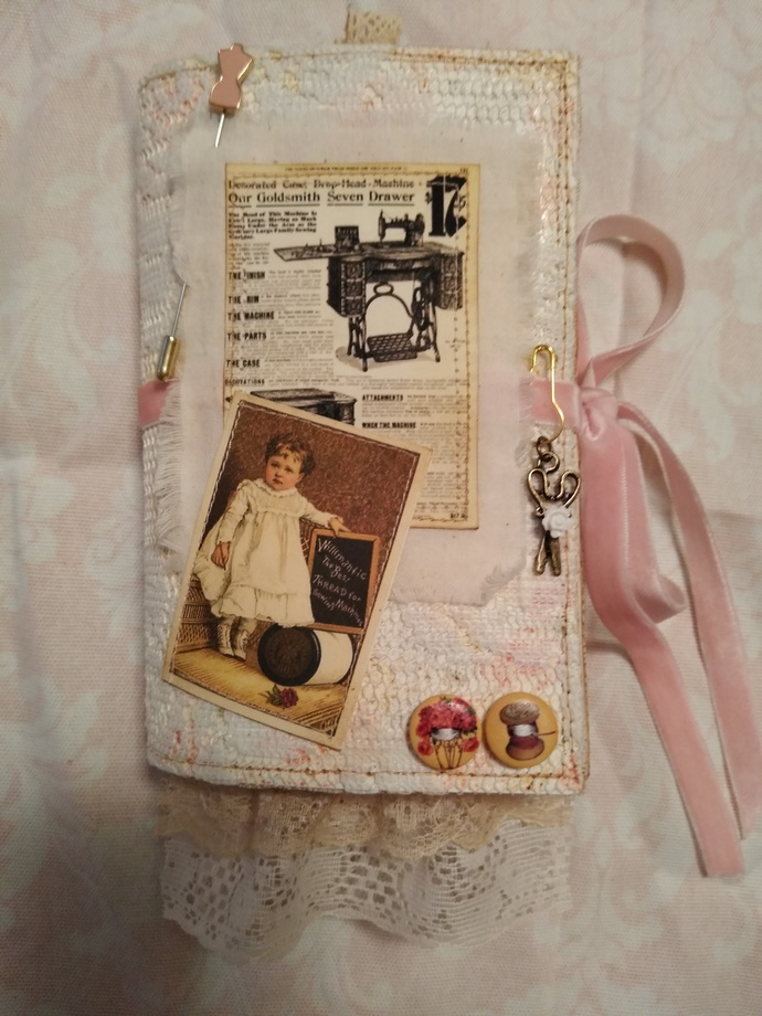 """Victorian Seamstress"" journal with 18 pc ephemera"