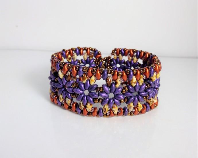 Handmade deep purple Superduo Tropical  Bracelet