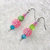 Dangle Earrings beaded in Spring Colors of Blue, Green, and Pink beads with