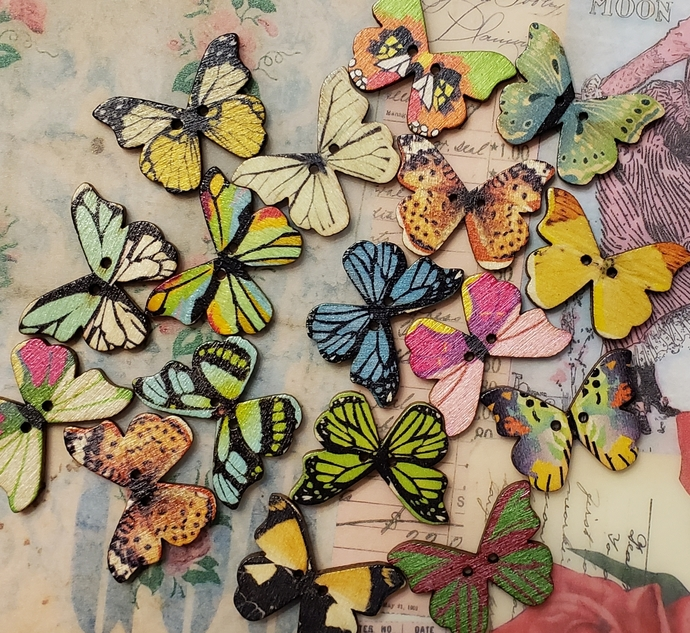 Real Wood butterfly buttons