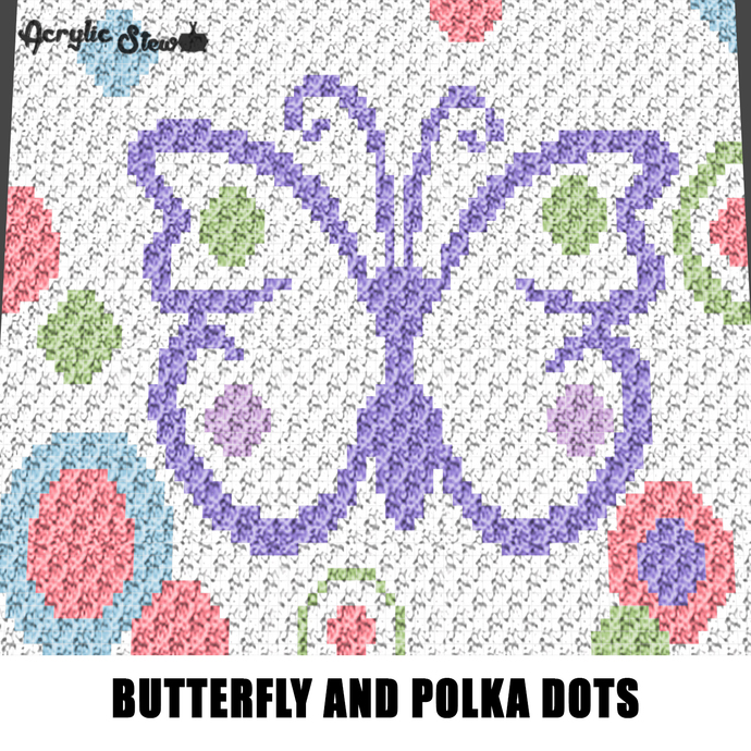 Purple Butterfly and Polka Dots Circles Spring Colors crochet graphgan blanket
