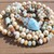Stunning Long Beaded Necklace with Pendant Amazonite Pearl & Larimar Bohemian