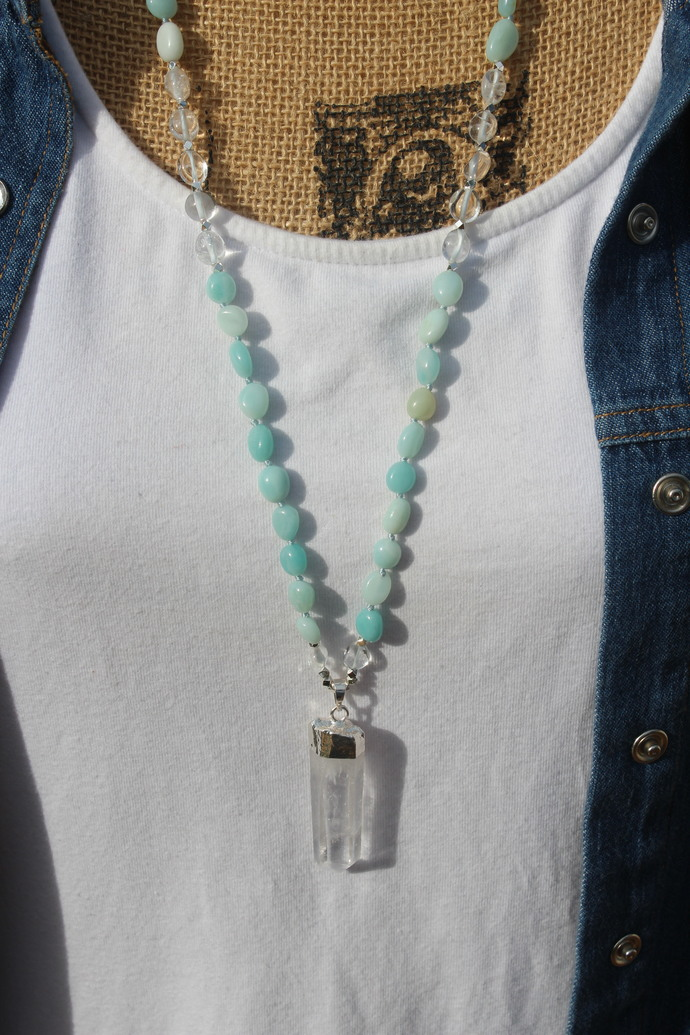 Clarity Necklace Long Blue Amazonite Beaded Necklace Lemurian crystal pendant by