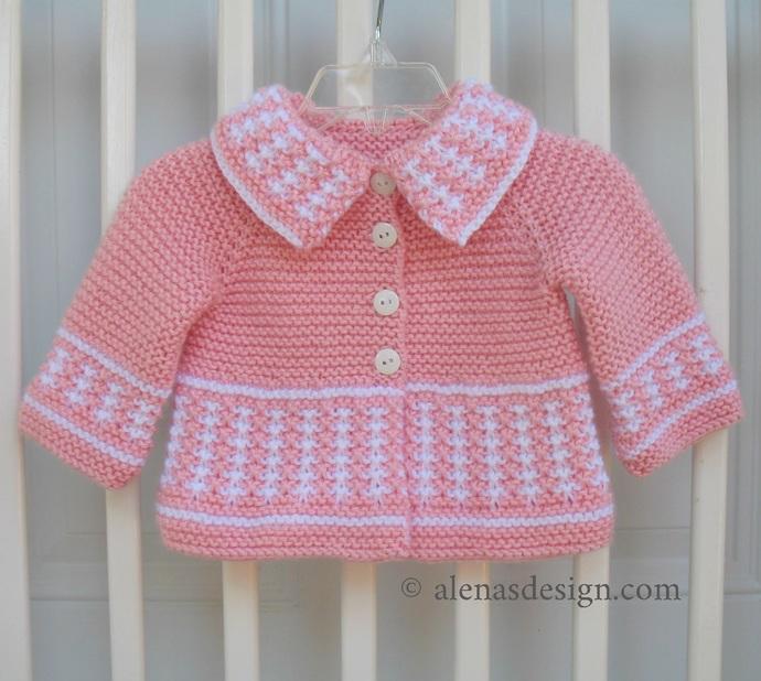 Sweet Baby Cardigan Knitting Pattern 230 Striped Jacket 3, 6, 12, 24 months
