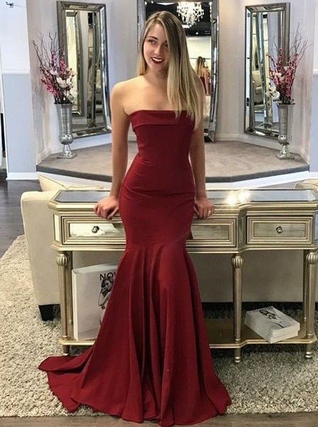 Cheap Long Maroon Elastic Satin Mermaid Strapless Prom DressFormal Dress W2265