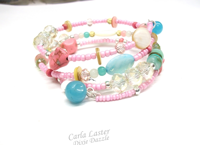 Memory wire bracelet, pastel bracelet, summer jewelry, beach jewelry, resort