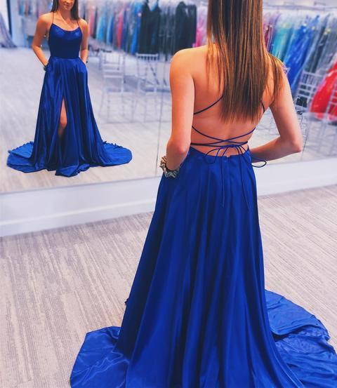 Simple Royal Blue Prom Dress with Cross Back Evening Dress Elastic Woven Stain