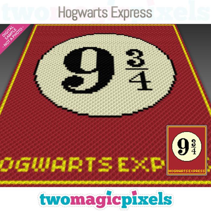Hogwarts Express crochet graph (C2C, Mini C2C, SC, HDC, DC, TSS), cross stitch;