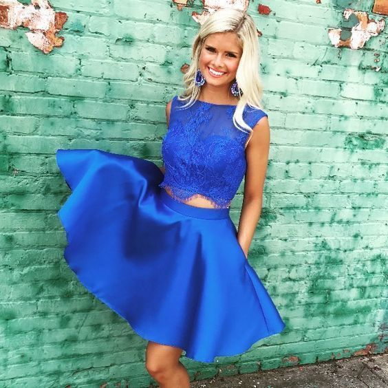 Two Piece Bateau Royal Blue Homecoming Dress with Lace Pockets H-001