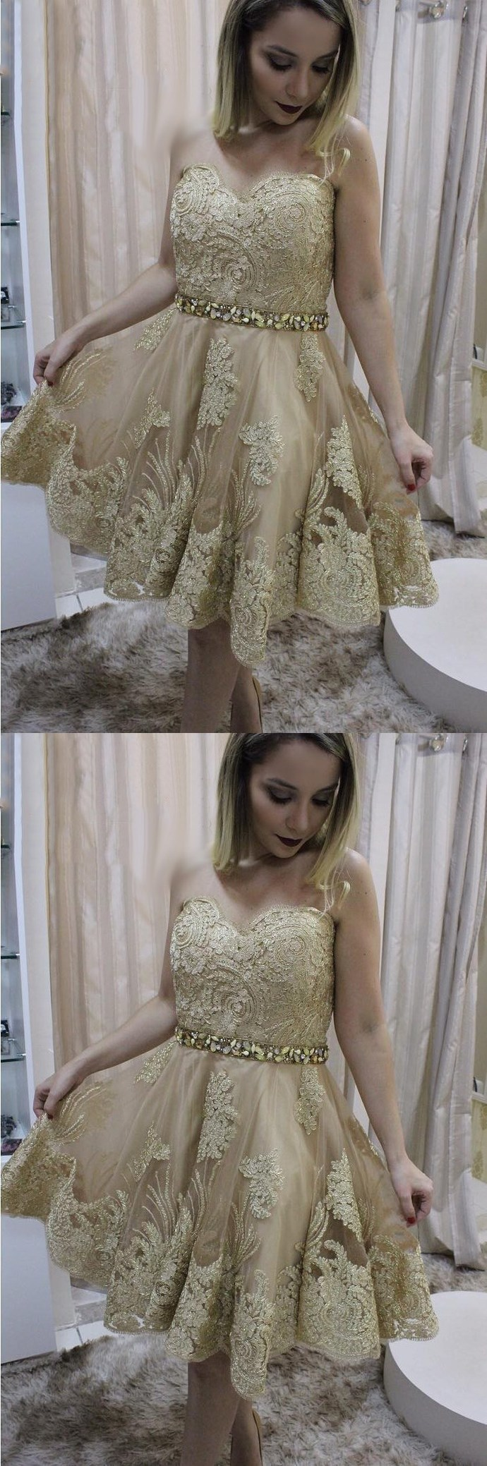 Charming Gold Lace Short Homecoming Dress, Short Sweetheart Pretty Party Dress