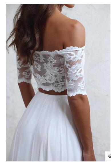 White Lace Prom Dresses, Short Sleeve Prom Dresses, Chiffon Long Beach Wedding