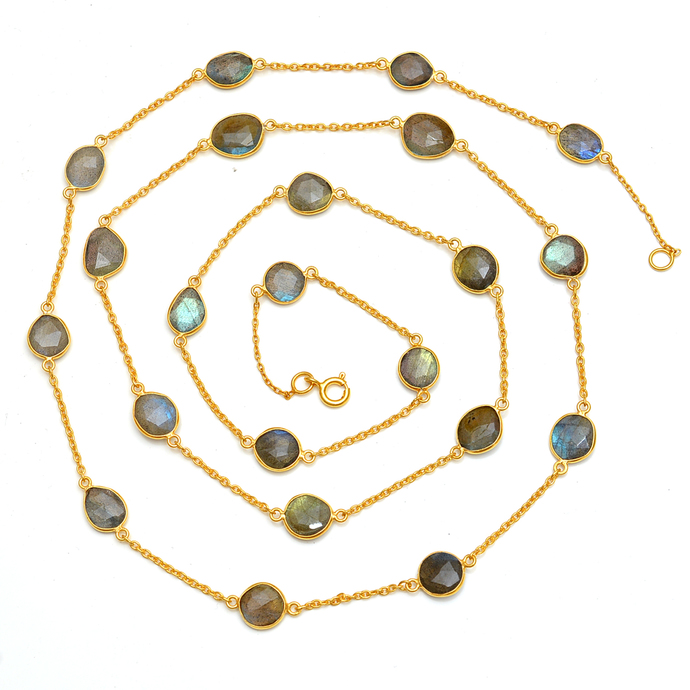 925 Sterling Silver Faceted Natural Labradorite FreeForm Faceted  Chain Jewelry