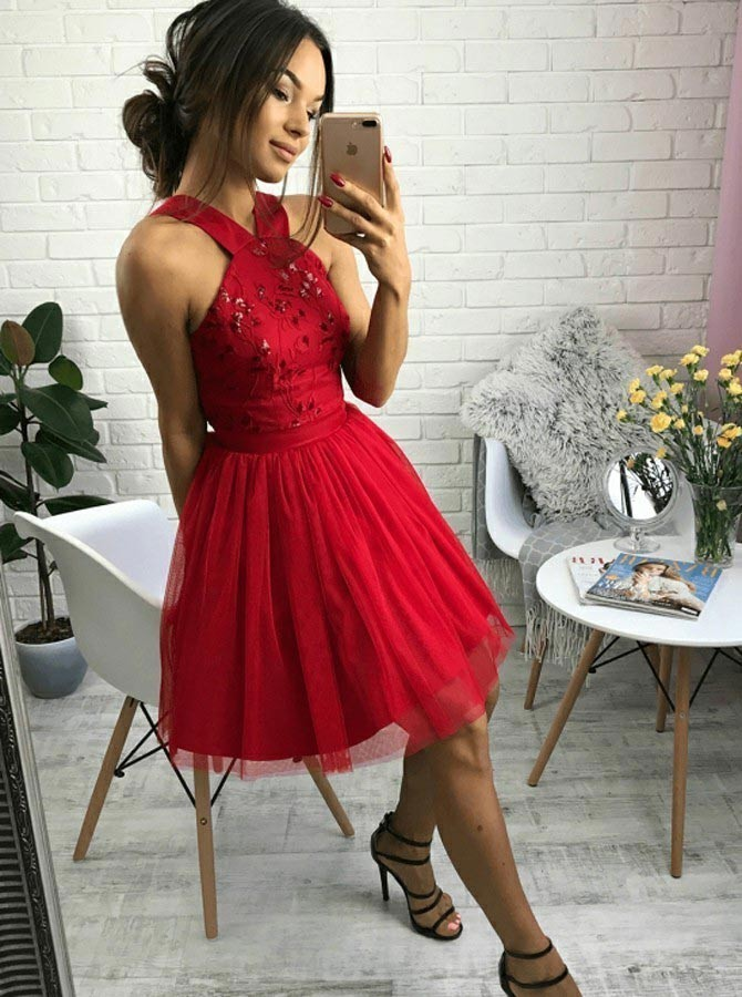 A-Line Cross Neck Short Red Homecoming Dress with Beading Pleats H-008