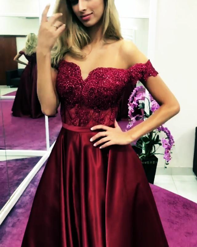 Burgundy Satin Off The Shoulder Long Senior Prom Dress With Lace Applique 2019