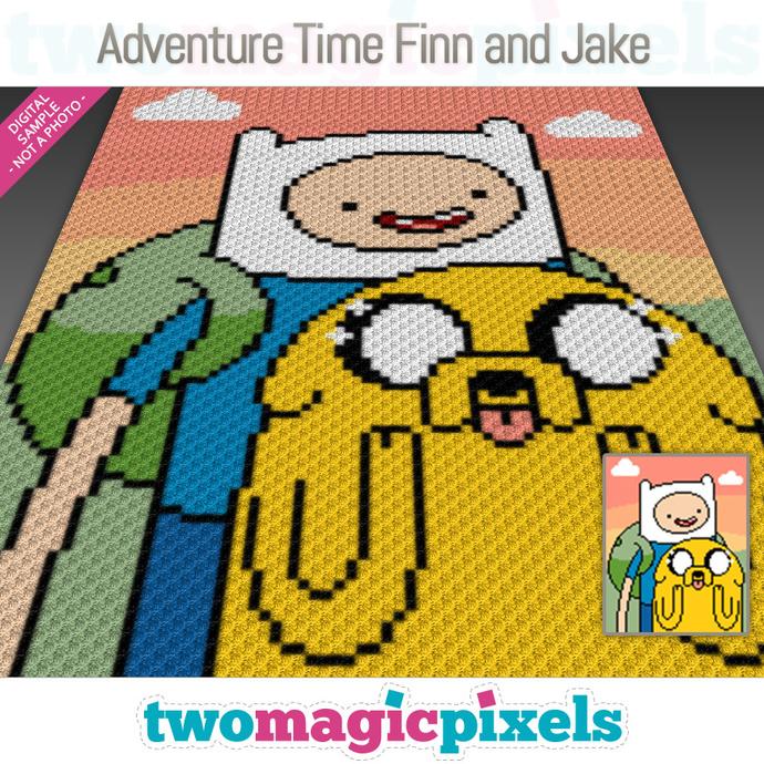 Adventure Time Finn and Jake crochet graph (C2C, Mini C2C, SC, HDC, DC, TSS),