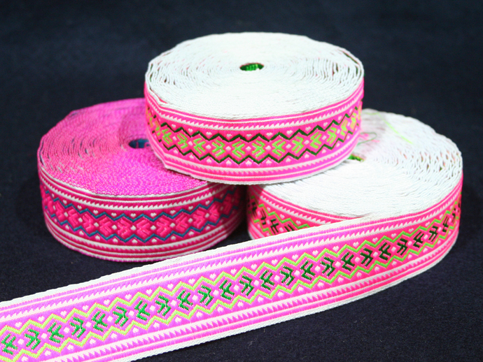 3cm x 1 m • Pink/Green/Blue Traditional Hmong Pattern Trim Ribbon