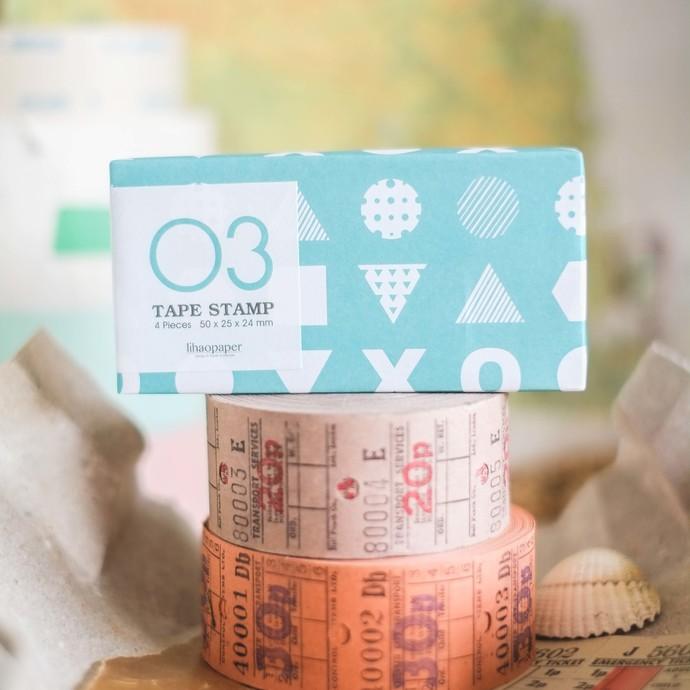 Lihaopaper Tape 03 stamp sets - contains 4 stamps - perfect for journaling &