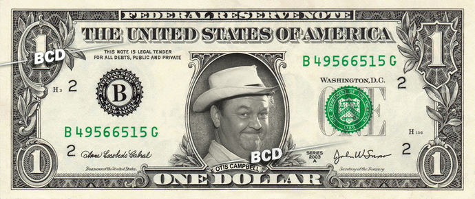 OTIS CAMPBELL on a REAL Dollar Bill Andy Griffith Show Cash Money Collectible