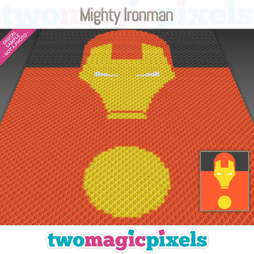 and Cross-Stitch Graph for Crochet Perler Beads Ironman Includes Crochet Stitch Instructions!