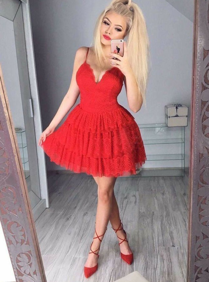 A-Line Spaghetti Straps Short Tiered Red Lace Homecoming Dress H-018
