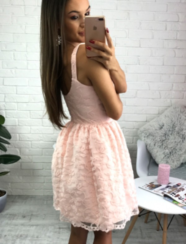 A-Line V-Neck Short Pearl Pink Lace Homecoming Dress H-021