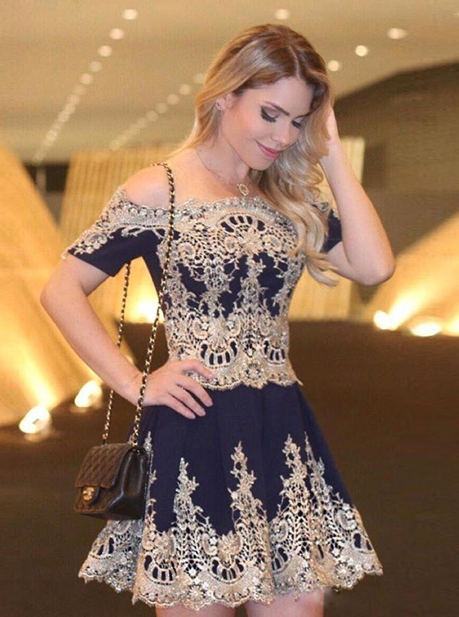 A-Line Off Shoulder Short Sleeves Navy Blue Homecoming Dress with Appliques