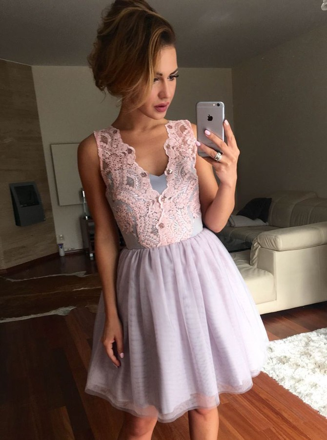 A-Line V-Neck Short Lavender Tulle Homecoming Dress with Lace H-026