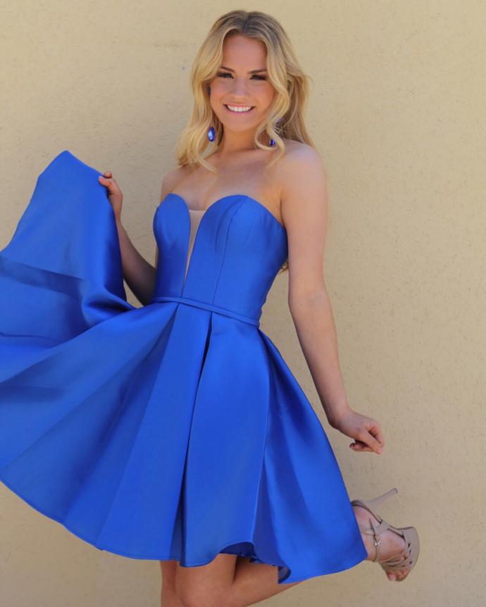 Cute Royal Blue Sweetheart Satin Homecoming Dress,Short Party Dress H-027
