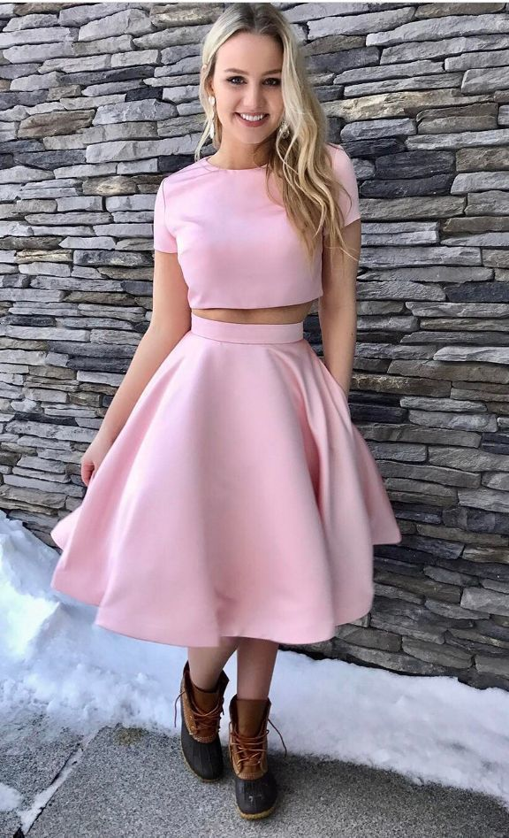 Pink Satin Short Sleeves Two Piece Cocktail Dresses,Knee-length Short Prom Dress